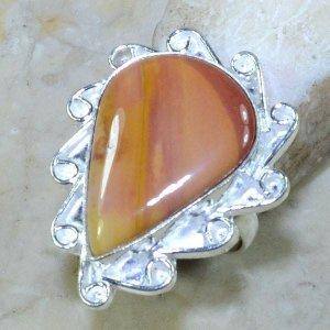 טבעת כסף משובצת אבן ג'ספר כתום מידה: 7.5