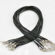 חישוק עור שחור עיצוב צמה לצמיד סוגר מוכסף