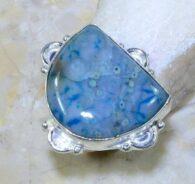 טבעת בשיבוץ ג'ספר אוושן כחול מידה: 8