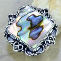 טבעת כסף בשיבוץ אבאלון עיצוב מרובע מידה 7.5