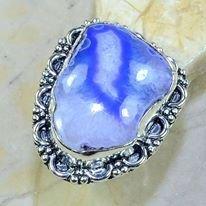 טבעת כסף בשיבוץ אבן אגט בוטוצ'ואנה כחול מידה: 8.25