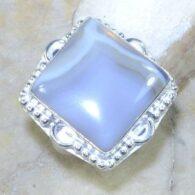 טבעת כסף בשיבוץ אבן אגט בוטוצ'ואנה לבן מידה: 7.5
