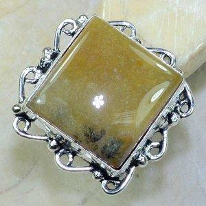 טבעת כסף בשיבוץ אבן אגט צהוב חום מידה 8.25