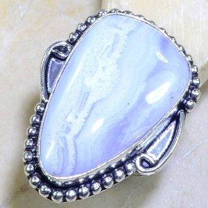 טבעת כסף בשיבוץ אבן בלו לייס אגט מידה: 8.25