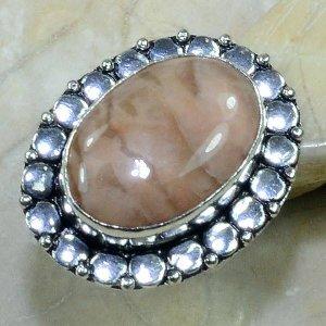 טבעת כסף בשיבוץ אבן ג'ספר גווני חום מידה: 7.75