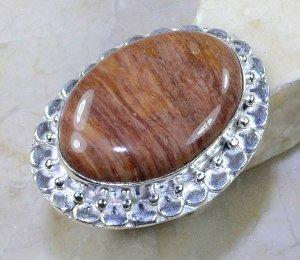 טבעת כסף בשיבוץ אבן ג'ספר גווני חום מידה: 8.75