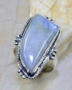 טבעת כסף בשיבוץ אבן ג'ספר גווני תכלת מידה: 8