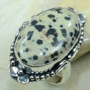 טבעת כסף בשיבוץ אבן ג'ספר דולומייט מידה: 8.5