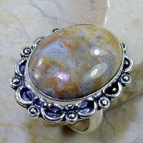 טבעת כסף בשיבוץ אבן ג'ספר חום אפרפר מידה: 10.25