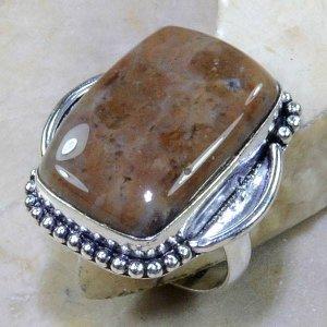 טבעת כסף בשיבוץ אבן ג'ספר חום מנומר מידה: 8.25