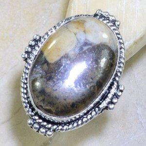 טבעת כסף בשיבוץ אבן ג'ספר חום שמנת מידה: 8.5