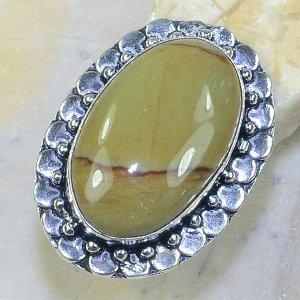 טבעת כסף בשיבוץ אבן ג'ספר צהוב חרדל מידה: 9