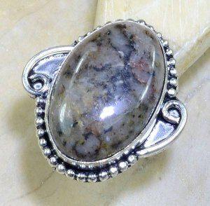 טבעת כסף בשיבוץ אבן דנדריט אופל מידה: 6.75
