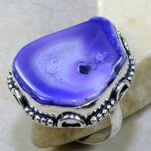 טבעת כסף בשיבוץ אבן דרוזי סגול מידה: 9