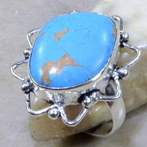 טבעת כסף בשיבוץ אבן טורקיז מידה: 8.5