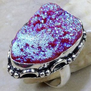 טבעת כסף בשיבוץ אבן טיטניום אגט ורוד סגול מידה: 7.75