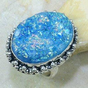 טבעת כסף בשיבוץ אבן טיטניטם דרוזי כחול מידה: 8.25