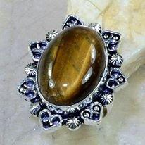 טבעת כסף בשיבוץ אבן טייגר אי זהב מידה: 8