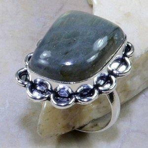 טבעת כסף בשיבוץ אבן לברדורייט מידה: 10.5