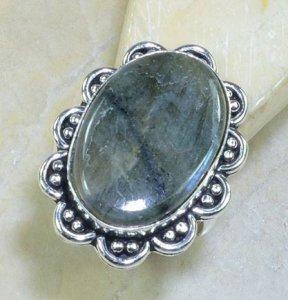 טבעת כסף בשיבוץ אבן לברדורייט מידה: 10