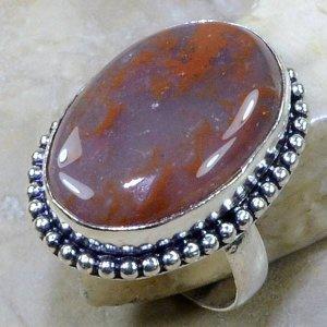 טבעת כסף בשיבוץ אבן מוס אגט חום אפרפר מידה: 8.25