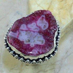 טבעת כסף בשיבוץ אבן סולר קוורץ ורוד מידה: 9