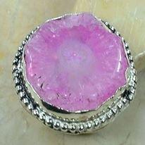 טבעת כסף בשיבוץ אבן סולר קוורץ ורוד מידה: 10.25