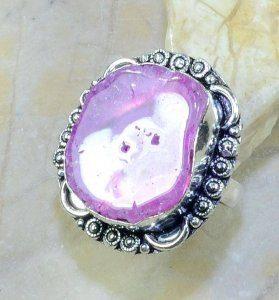 טבעת כסף בשיבוץ אבן סולר קוורץ מידה: 10