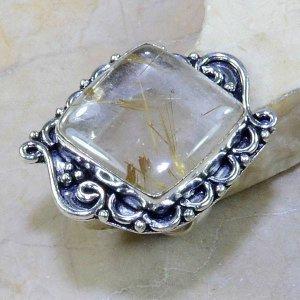 טבעת כסף בשיבוץ אבן רוטילייד קוורץ מידה: 7.5