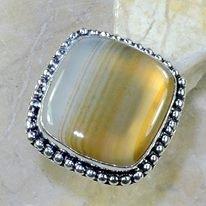 טבעת כסף בשיבוץ אגט בוטוצ'ואנה מידה: 5.75