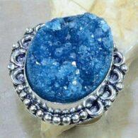 טבעת כסף בשיבוץ דרוזי כחול מידה: 9.5