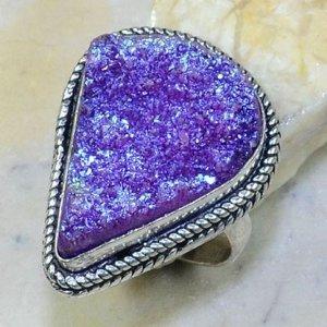 טבעת כסף בשיבוץ אבן טיטניום סגול כחלחל מידה: 8.75