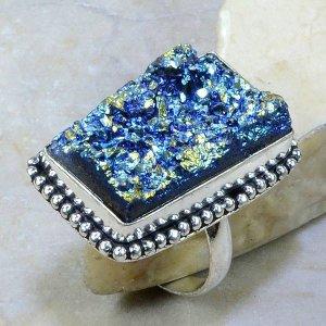 טבעת כסף בשיבוץ טיטניום כחול עיצוב מלבן מידה: 10.25