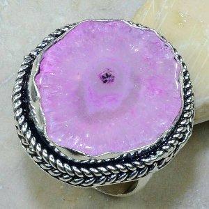טבעת כסף בשיבוץ אבן אגט ורוד
