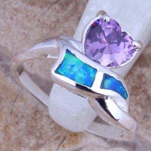 טבעת כסף בשיבות אבני אופל כחול ואמטיסט