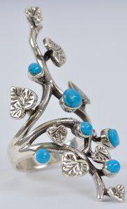 טבעת כסף ואבני טורקיז עיצוב עלים
