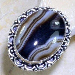 טבעת כסף משובצת אבן אגט בוטוצ'ואנה פסים מידה: 10.5
