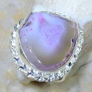 טבעת כסף משובצת אבן אגט דרוזי ורדרד מידה: 10
