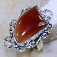 טבעת כסף משובצת אבן אגט כתום מידה: 6.75