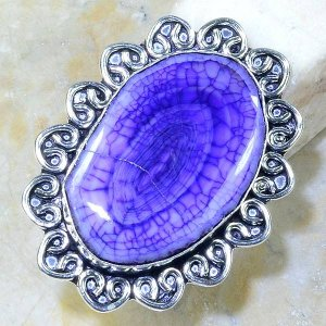 טבעת כסף משובצת אבן אגט סגול מידה: 9