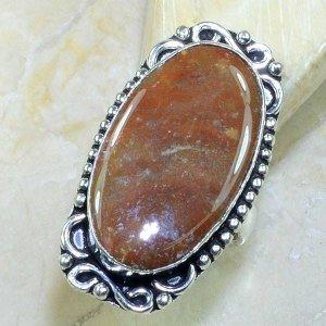 טבעת כסף משובצת אבן ג'ספר חום אדמדם מידה: 7