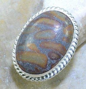 טבעת כסף משובצת אבן ג'סםר אוטומן מידה: 6