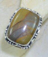 טבעת כסף משובצת אבן ג'ספר אוטומן מידה: 9.75