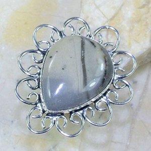 טבעת כסף משובצת אבן ג'ספר אפור מידה: 8.5