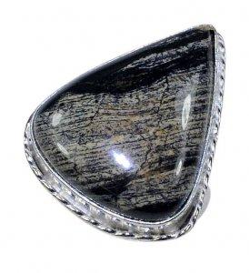טבעת כסף משובצת אבן ג'ספר אפור שחור מידה: 10