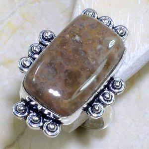טבעת כסף משובצת אבן ג'ספר גווני חום מידה: 9.5
