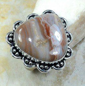 טבעת כסף משובצת אבן ג'ספר גווני חום מידה: 10