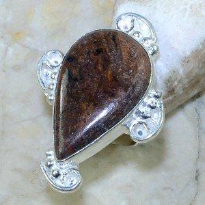 טבעת כסף משובצת אבן ג'ספר חום כהה מידה: 6