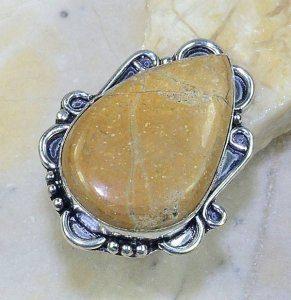 טבעת כסף משובצת אבן ג'ספר חום צהוב מידה: 8.75