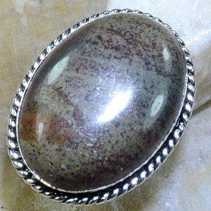 טבעת כסף משובצת אבן ג'ספר חום מידה: 7